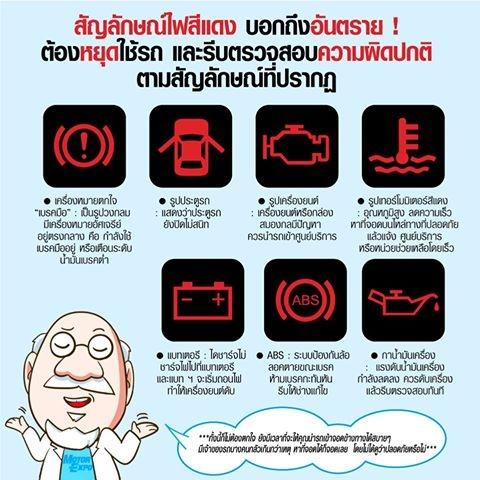 ไฟโชว์บนหน้าปัด ใดบ้าง ที่บอกถึง อันตราย ต้องหยุดใช้รถ และรีบตรวจสอบความผิดปกติทันที Nov 29